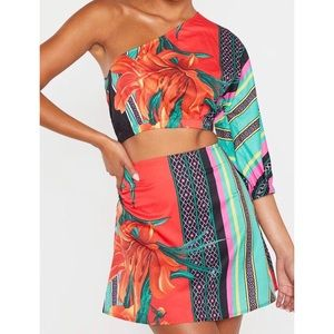 Mixed Print One Shoulder Crop with Mini Skirt